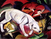 "fine arts, Marc, Franz, 8.2.1880 - 4.3.1916, painting, ""Dog, fox and cat"", (Hund, Fuchs und Katze), 1912, oil on canvas, Kuns - Stock Image - B42JDB"