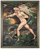 "Mathias Guckenhan - Siegfried slaying the dragon., Monumental painting. Oil on canvas, on the lower right side the monogram ""M - Stock Image - B47904"