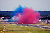 Red Arrows Royal Air Force Aerobatic Team getting ready for display during Farnborough International Airshow 2014 - Stock Image - E7CW40