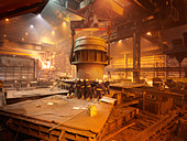 Workers In Steel Plant With Ladle - Stock Image - BK93Y3