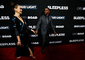 Cast members Jamie Foxx and Michelle Monaghan attend the premiere of the movie 'Sleepless' in Los Angeles, California U.S., January 5, 2017.   REUTERS/Mario Anzuoni - Stock Image - HG8N4E