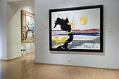 St. Petersburg, Russia, 10th June, 2015. Presentation of the exhibition of Antonio Meneghetti in the Marble Palace. The exposition includes more than 40 paintings created between 1995 and 2011 as well as unique artworks from Murano glass © Lilyana Vynogradova/Alamy Live News - Stock Image - ET1C86