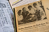 Historical newspaper clippings from the private archive of Korean-born paediatrician Sukil Lee showing him in the company of Korean nurses have been laid out in his office in Mainz, Germany, 27 January 2016. The 88-year-old brought in thousands of Korean nurses to work in German hospitals between 1966 and 1976. After being suspected of spying for communist North Korea in 1967, he was abducted from Germany to South Korea where he tortured. Photo: BORIS ROESSLER/dpa - Stock Image - FDG63W