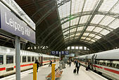 Leipzig Central Station - Stock Image - HBBX3X