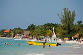 Jamaica Negril beach glass bottom boat - Stock Image - AYG8XN