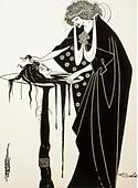 fine arts, Beardsley, Aubrey (1872 - 1898), print, illustration for the play 'Salome' by Oscar Wilde, England, circa 1895, Art - Stock Image - DAWA4Y