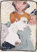 fine arts, Toulouse-Lautrec, Henri de (1864 - 1901), drawing, portrait of a woman, - Stock Image - GBECGF