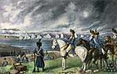 Washington watching evacuation of British troops from Boston, 1776. - Stock Image - DEED52