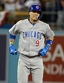 Los Angeles, California, USA. 20th Oct, 2016. Chicago Cubs' Javier Baez smiles after hitting a three run double against the Los Angeles Dodgers in the eighth inning during game five of the National League Baseball Championship Series on Thursday, Oct. 20, 2016 in Los Angeles. Chicago Cubs won 8-4. (Photo by Keith Birmingham, Pasadena Star-News/SCNG) © San Gabriel Valley Tribune/ZUMA Wire/Alamy Live News - Stock Image - H5FBFM