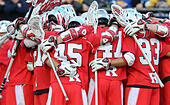 Piscataway, NJ, USA. 2nd Apr, 2016. The Rutgers Scarlet Knights get ready at the beginning of an NCAA Lacrosse game between the Johns Hopkins Blue Jays and the Rutgers Scarlet Knights at High Point Solutions Stadium in Piscataway, NJ. Rutgers defeated Johns Hopkins 16-9. Mike Langish/Cal Sport Media. © csm/Alamy Live News - Stock Image - FWB1XN