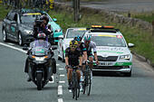Cheshire, UK. 6th September, 2016. Breakaway group of Graham Briggs, Kristian House and the eventual winner Ian Stannard, during the climb to the Cat and Fiddle. © Pat Bennett/Alamy Live News - Stock Image - GR1DGH