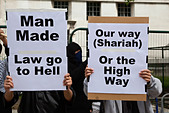 Pro Sharia Law Demonstration outside Downing Street, London, UK, 20 June 2010 - Stock Image - BMW45W