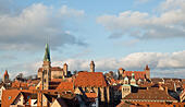 Nuremberg, Germany. 18th Jan, 2015. ARCHIVE - A view of the historical city centre with the Kaiserburg castle (back), the St. Sebald chruch (M) and the city hall (R) in Nuremberg, Germany, 18 January 2015. Photo: Daniel Karmann/dpa/Alamy Live News - Stock Image - HNMR2G