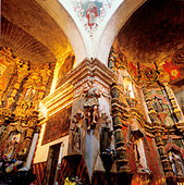 Newly restored interior of the San Xavier Mission south of Tucson Arizona - Stock Image - A967F6