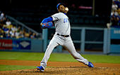 Los Angeles, California, USA. 20th Oct, 2016. Chicago Cubs relief pitcher Aroldis Chapman throws to the plate against the Los Angeles Dodgers in the ninth inning during game five of the National League Baseball Championship Series on Thursday, Oct. 20, 2016 in Los Angeles. Chicago Cubs won 8-4. (Photo by Keith Birmingham, Pasadena Star-News/SCNG) © San Gabriel Valley Tribune/ZUMA Wire/Alamy Live News - Stock Image - H5FBFK