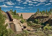 Spillway at El Vado Dam on Rio Chama near Tierra Amarilla, New Mexico, USA - Stock Image - BY3NMW