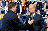 Britain Soccer Football - Tottenham Hotspur v Manchester City - Premier League - White Hart Lane - 2/10/16 Manchester City manager Pep Guardiola and Tottenham manager Mauricio Pochettino before the match  Reuters / Eddie Keogh Livepic EDITORIAL USE ONLY. - Stock Image - H9WC72