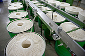India Indore , Mahima Fibres Ltd. spinning mill produce cotton yarn from organic and fair trade cotton - Stock Image - B70CF9