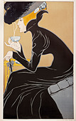 fine arts, Mucha, Alfons Maria, 24.7.1860 - 14.7.1939, graphic, 'Tee trinkende Dame' (tea-drinking lady), advertisement for M - Stock Image - BD6FBT