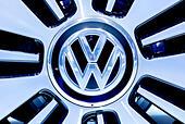 VW logo, Volkswagen AG, on a car rim, 65th International Motor Show IAA 2013, Frankfurt am Main, Hesse, Germany - Stock Image - E5826Y