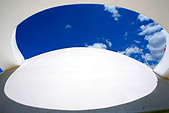 architecture detail of the futuristic national museum of brasilia city - Stock Image - ANYHDG