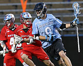 Piscataway, NJ, USA. 2nd Apr, 2016. Wilkins Dismuke (9) runs with the ball during an NCAA Lacrosse game between the Johns Hopkins Blue Jays and the Rutgers Scarlet Knights at High Point Solutions Stadium in Piscataway, NJ. Rutgers defeated Johns Hopkins, 16-9. Mike Langish/Cal Sport Media. © csm/Alamy Live News - Stock Image - FWB2K1