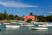 Eglise de Cap Malheureux boats Mauritius Africa - Stock Image - B7G589