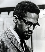 MALCOLM X  (1925-1965) African-American minister and human rights activist as head of the self-styled Nation of Islam - Stock Image - BMN6M1