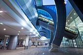 Stylish modern architecture of the 2010 opened Terminal 3 of Dubai International Airport, Dubai, UAE, United Arab Emirates - Stock Image - BKEPWD