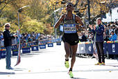 Ghirmay Ghebreslassie of Eritrea crosses the finish line to win the men's field of the 2016 New York City Marathon in Central Park in the Manhattan borough of New York City, NY, U.S. November 6, 2016.  REUTERS/Mike Segar - Stock Image - H9TWER