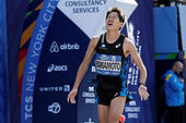 Hiroyuki Yamamoto of Japan crosses the finish line to finish fourth in the men's field of the 2016 New York City Marathon in Central Park in the Manhattan borough of New York City, NY, U.S. November 6, 2016. REUTERS/Mike Segar - Stock Image - H9TX4D