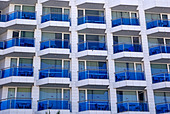 Abstract building with balcony as backdrop or background. - Stock Image - BYRR3E