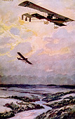 World War I, German biplane on reconnaissance over the Argonne Forest, painting by Hans Rudolf Schulze - Stock Image - CWB083