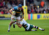 London, UK. 8th October, 2016. James Horwill (c) of Harlequins was tackled during Aviva Premiership Rugby game between Harlequins and Northampton Saints at Twickenham Stoop on Saturday. © Taka Wu/Alamy Live News - Stock Image - H3GMXC