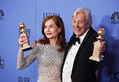 Los Angeles, USA. 08th Jan, 2017. Isabelle Huppert, Paul Verhoeven 336 Press room at the 74th Annual Golden Globe Awards at the Beverly Hilton in Los Angeles. January 08, 2017 © Gamma-USA/Alamy Live News - Stock Image - HGGBK7