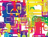 vector illustration of a selection of computer and technology hardware layered and multiplied to create an abstract background i - Stock Image - E3XJDA