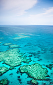 Aerial views of the spectacular Great Barrier Reef near the Whitsunday Islands in Queensland, Australia. - Stock Image - CBTG2G