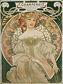 fine arts, Mucha, Alphonse (24.8.1860 - 14.7.1939), coloured lithograph, 'Reverie', 1897, - Stock Image - GBE7EN
