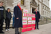 London, United Kingdom. 21st November 2017.Peter Dowd MP, Labour's Shadow Chief Secretary to the Treasury and Andrew Gwynne MP, Labour's Shadow Secretary of State for Communities and Local Government deliver Labour's 'Make Homes Safe' Petition to the Treasury. Credit: Peter Manning/Alamy Live News - Stock Image - KJ23YP