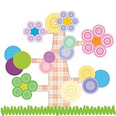 Cute kids cartoon with tree and flowers - Stock Image - DNNHMM