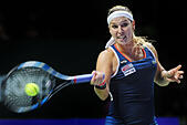 Singapore. 30th Oct, 2016. Dominika Cibulkova of Slovakia competes during the WTA Finals match against Angelique Kerber of Germany at Singapore Indoor Stadium, Oct. 30, 2016. Cibulkova won 2-0. © Then Chih Wey/Xinhua/Alamy Live News - Stock Image - H6KCC0