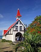 Wedding in Eglise de Cap Malheureux Mauritius Africa - Stock Image - B7FWFD