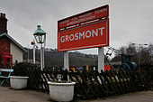 Station Sign at Grosmont on North Yorkshire Moors Railway - Stock Image - BJY7YP
