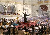 Franzi Liszt conducting his new Oratorio at Budapest, Hungary, 1860s. - Stock Image - DAAPJ7