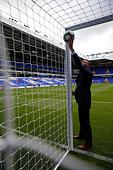 Britain Soccer Football - Tottenham Hotspur v Manchester City - Premier League - White Hart Lane - 2/10/16 Referee Andre Marriner tests the goal line technology before the match  Action Images via Reuters / Andrew Couldridge Livepic EDITORIAL USE ONLY. - Stock Image - H9WCFX