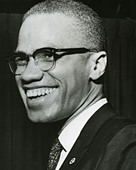 MALCOLM X  (1925-1965) African-American minister and human rights activist as head of the self-styled Nation of Islam - Stock Image - BMN6MY