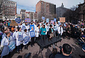 "Boston, Massachusetts, USA. 19th February, 2017.  More than 1,000 scientists and science advocates gathered in Copley Square in central Boston during the ""Stand up for Science"" rally.Credit: Chuck Nacke/Alamy Live News - Stock Image - HP8T98"