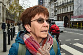 London, United Kingdom. 29 November 2017. Sirkka-Liisa Love talks to the press as her son Lauri Love arrives at the Royal Courts of Justice in central London for the start of an appeal hearing against his extradition to the US where he faces hackng charges. Credit: Peter Manning/Alamy Live News - Stock Image - KJPR2R