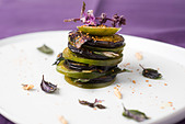 Tomato and eggplant mille feuille - Stock Image - CBCEK5