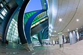 Stylish modern architecture of the 2010 opened Terminal 3 of Dubai International Airport, Dubai, UAE, United Arab Emirates - Stock Image - BKEPWM